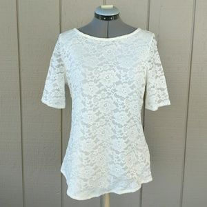 Madison floral lace top zip back white blouse M